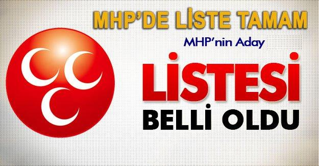 MHP'de liste tamam