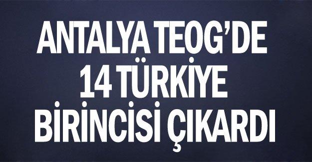 Antalya TEOG'de 14 Türkiye birincisi çıkardı