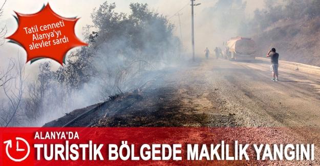 Alanya'da turistik bölgede makilik yangını