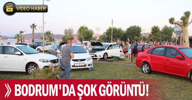 Bodrum'da şok görüntü! araçlar sürüklendi