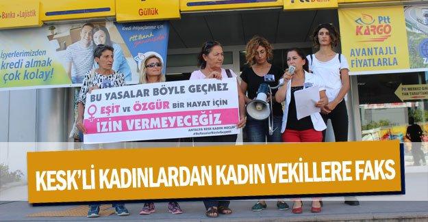 KESK'li kadınlardan kadın vekillere faks