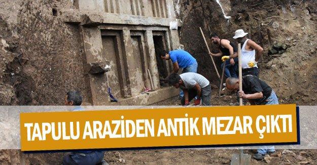 Tapulu araziden antik mezar çıktı