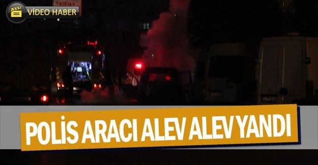 Polis aracı alev alev yandı