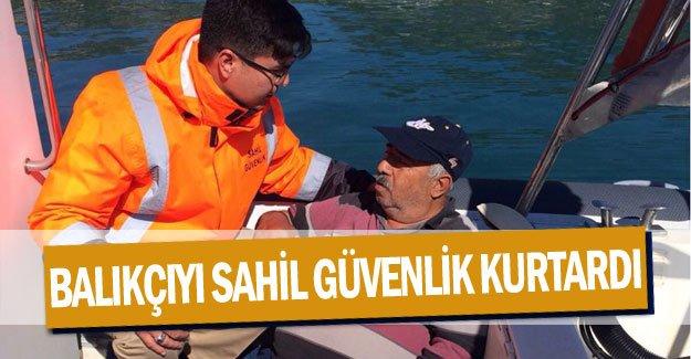 Balıkçıyı sahil güvenlik kurtardı
