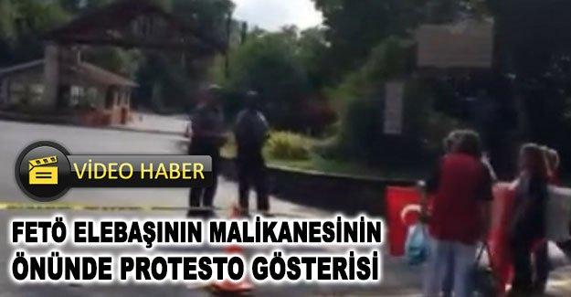 FETÖ elebaşının malikanesinin önünde protesto gösterisi