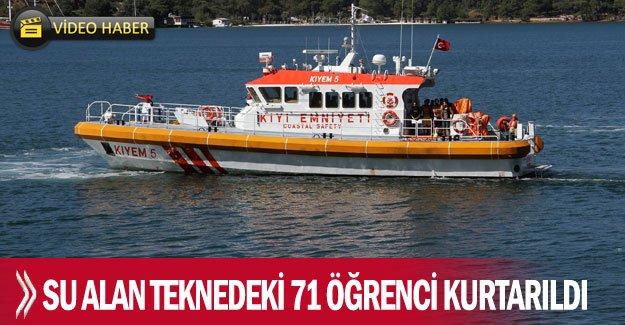 Su alan teknedeki 71 öğrenci kurtarıldı