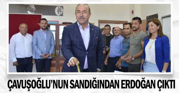 Çavuşoğlu'nun sandığından Erdoğan çıktı