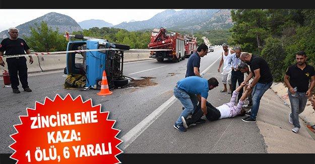 Zincirleme kaza:  1 ölü, 6 yaralı