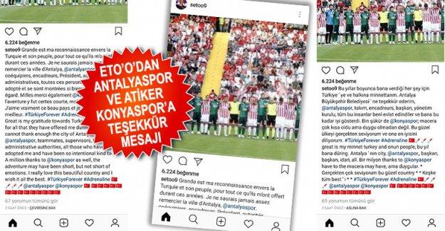 Eto'o'dan Antalyaspor ve Atiker Konyaspor'a teşekkür mesajı