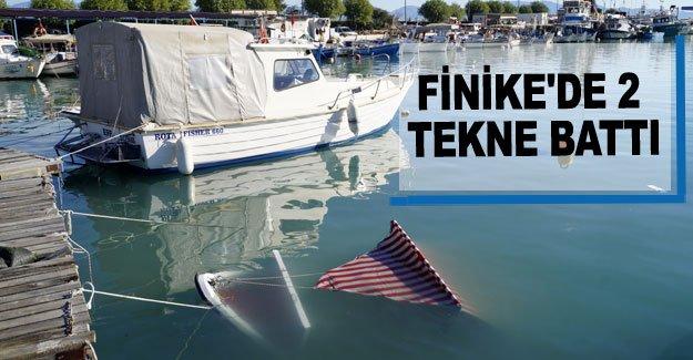 Finike'de 2 tekne battı