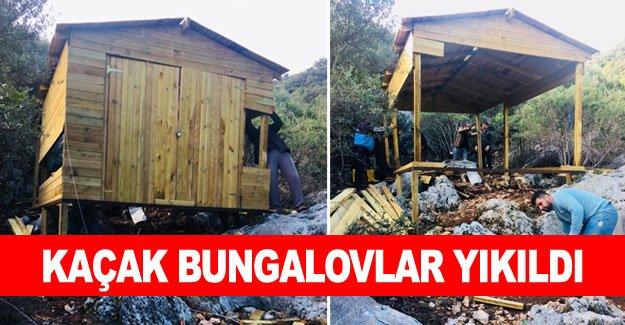 Kaçak bungalovlar yıkıldı