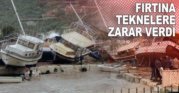 Fırtına teknelere zarar verdi