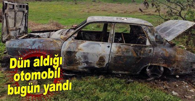 Dün aldığı otomobil bugün yandı