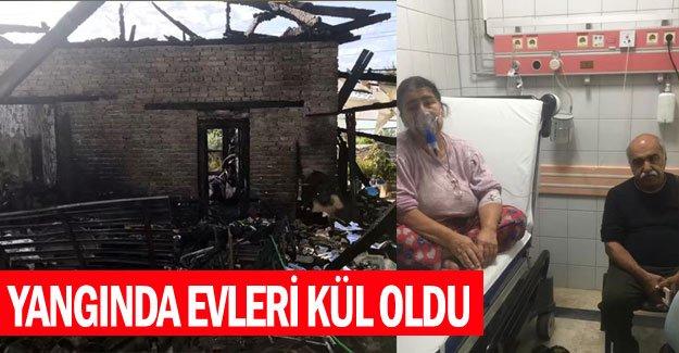 Yangında evleri kül oldu