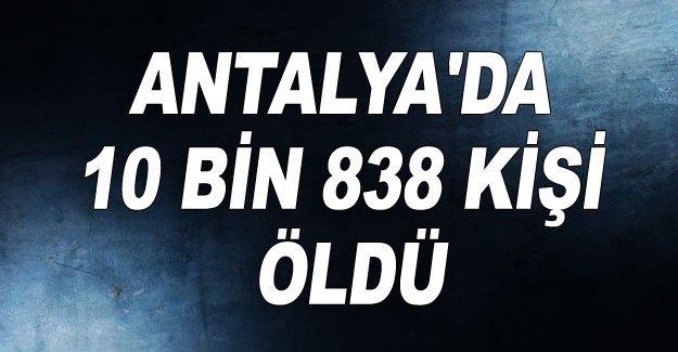 Antalya'da 10 bin 838 kişi öldü