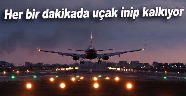 Her bir dakikada uçak inip kalkıyor