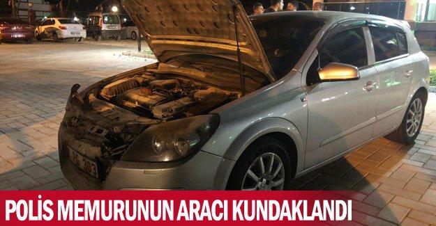 Polis memurunun aracı kundaklandı