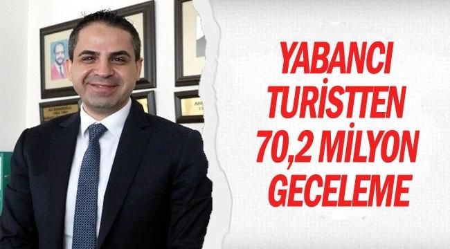 Yabancı turistten 70,2 milyon geceleme