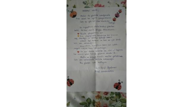 Öğretmenin umut dolu mektubu duygulandırdı