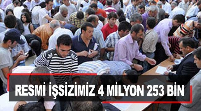 Resmi işsizimiz 4 milyon 253 bin