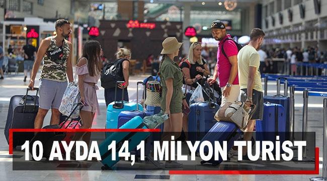 10 ayda 14,1 milyon turist