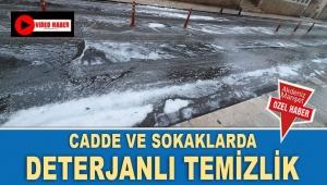 Cadde ve sokaklarda deterjanlı temizlik