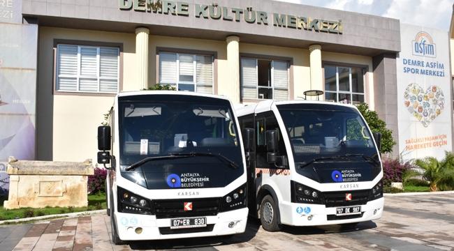 Demre'de toplu taşımaya iki minibüs
