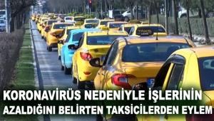 İşlerinin azaldığını belirten taksicilerden eylem