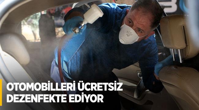 Otomobilleri ücretsiz dezenfekte ediyor