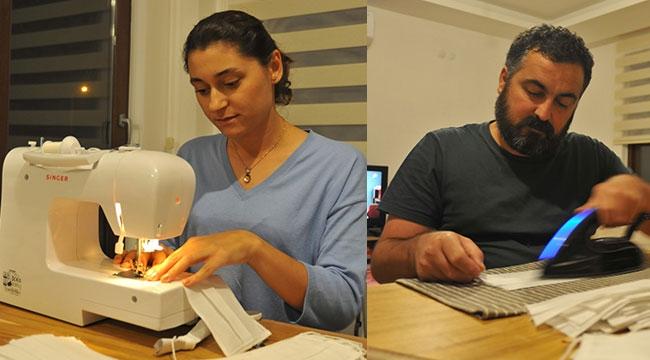 Kaş'ta gönüllülerden maske üretimi