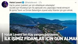 Haluk Levent'ten Kaş yangını paylaşımı: İlk işimiz fidanlar için gün almak