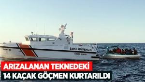 Arızalanan teknedeki 14 kaçak göçmen kurtarıldı
