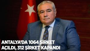 Antalya'da 1064 şirket açıldı, 312 şirket kapandı