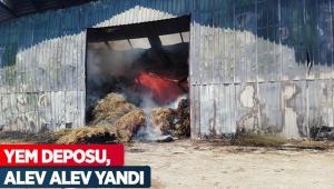 Antalya'da yem deposu, alev alev yandı