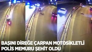 Başını direğe çarpan motosikletli polis memuru şehit oldu