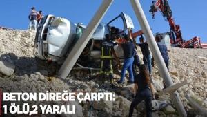 Beton direğe çarptı: 1 ölü,2 yaralı