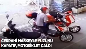 Cerrahi maskeyle yüzünü kapatıp, motosiklet çaldı