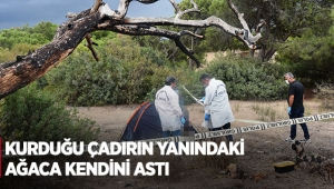 Kurduğu çadırın yanındaki ağaca kendini astı