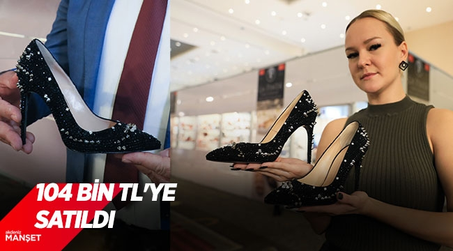 Taş süslemeli kadın ayakkabısı, 104 bin TL'ye satıldı