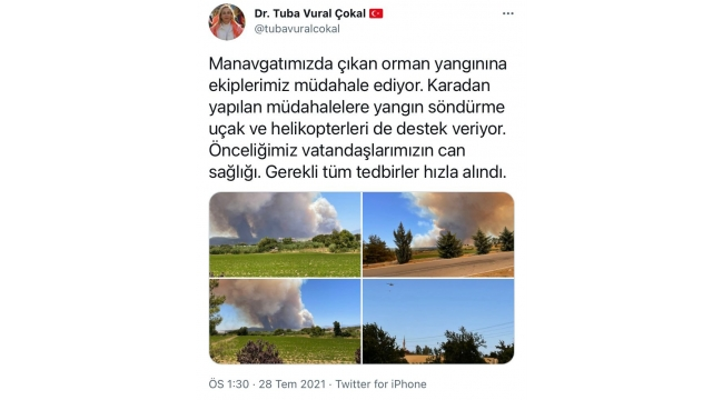 Çokal, Manavgat yangınıyla ilgili bilgi verdi