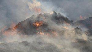 Moloz yangınında gökyüzünü duman kapladı