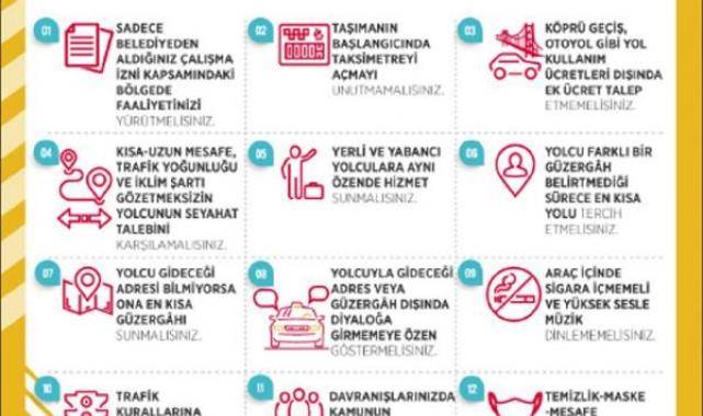 Taksi şoförlerine 12 kural